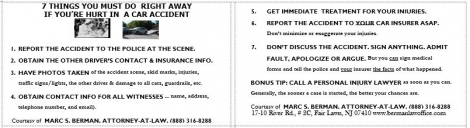 What to do after a car accident wallet card